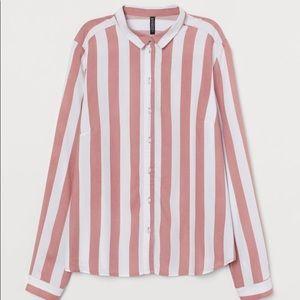 H&M Candy Pink Striped Button Up NWT Sz XL